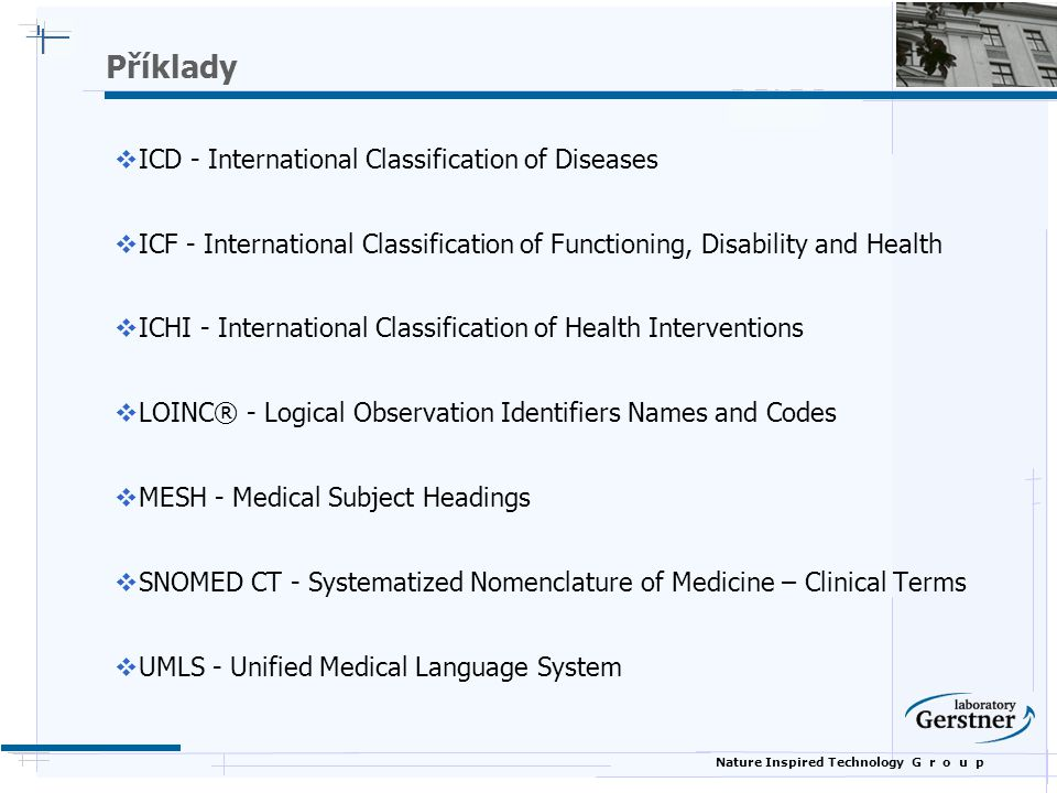Příklady ICD - International Classification of Diseases