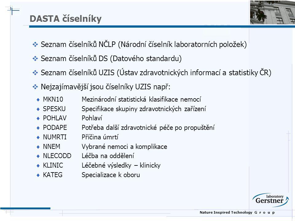 DASTA číselníky Seznam číselníků NČLP (Národní číselník laboratorních položek) Seznam číselníků DS (Datového standardu)