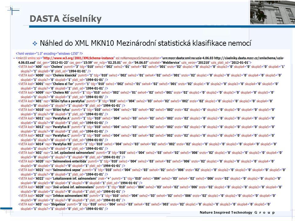 DASTA číselníky Náhled do XML MKN10 Mezinárodní statistická klasifikace nemocí