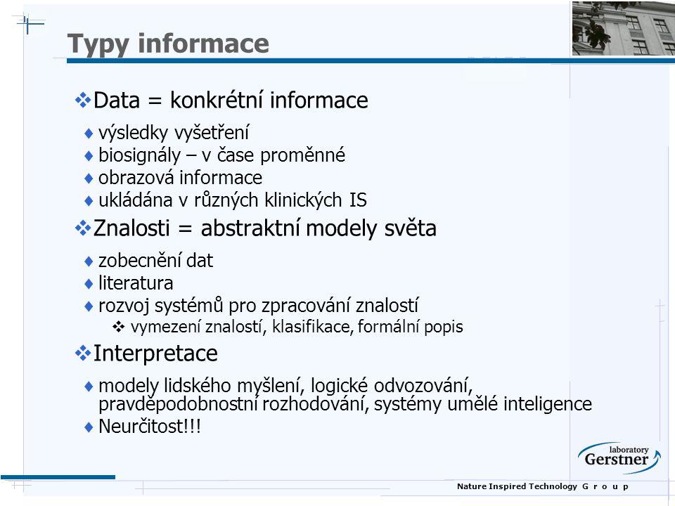 Typy informace Data = konkrétní informace