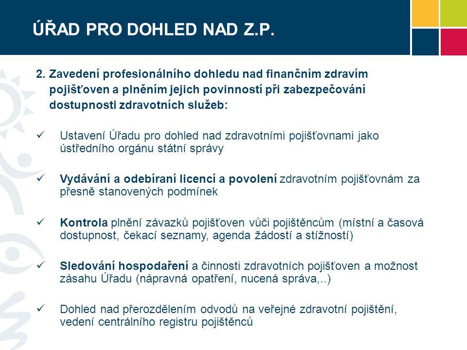 ÚŘAD PRO DOHLED NAD Z.P. 2. Zavedení profesionálního dohledu nad finančním zdravím. pojišťoven a plněním jejich povinností při zabezpečování.