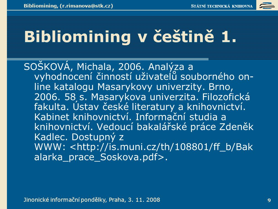 Bibliomining v češtině 2.