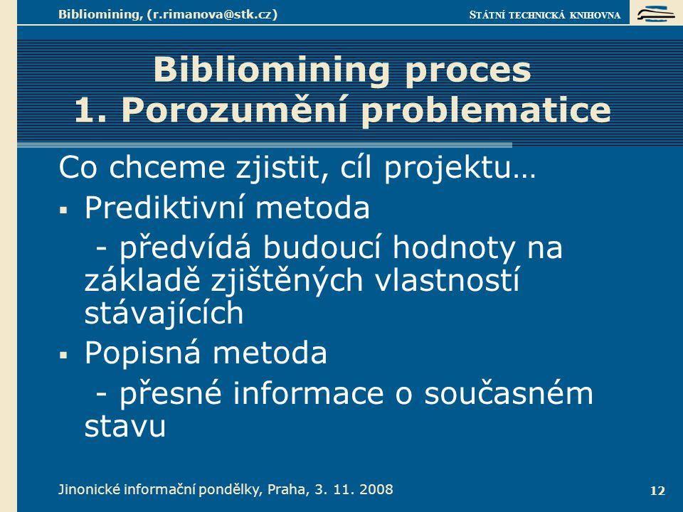 Bibliomining proces 2. Analýza dostupné datové základny