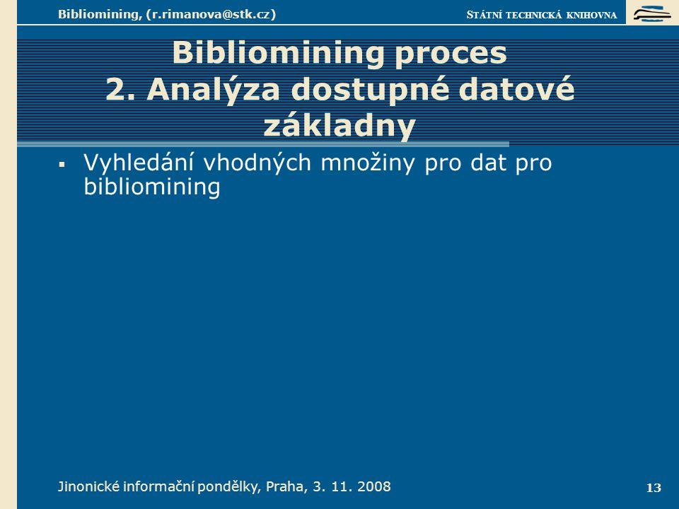 Bibliomining proces 2. Analýza dostupné datové základny Příklad