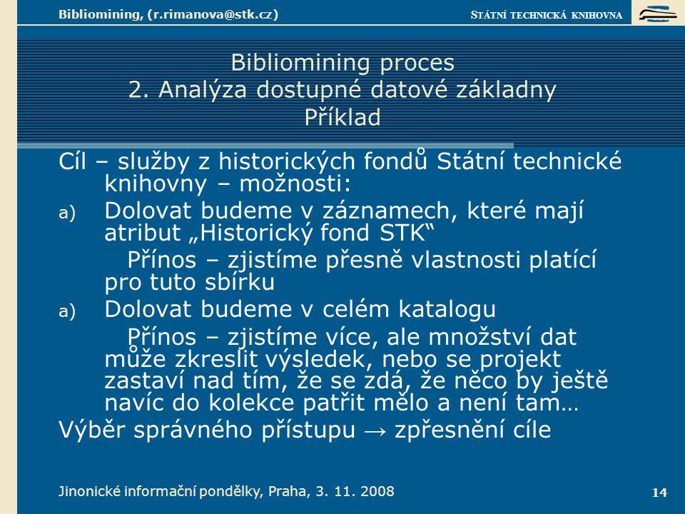 Bibliomining proces 3. Čištění a příprava dat