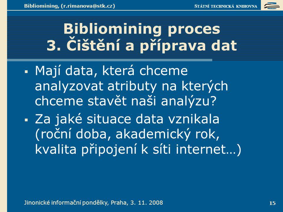 Bibliomining proces 4. Průzkum dat a modelování