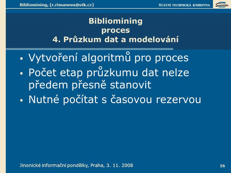 Bibliomining proces 4. Zhodnocení vzorku výsledků