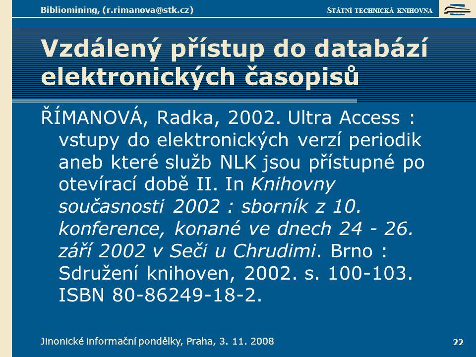 Vzdálený přístup do databází elektronických časopisů 1.