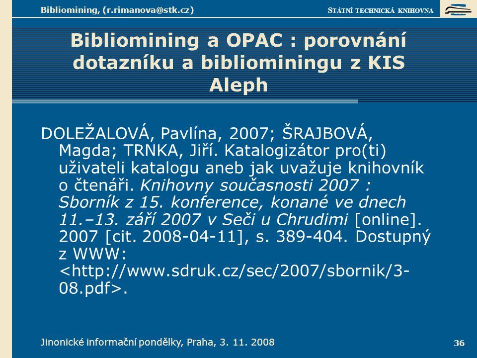 Provnání tradiční formy průzkumu v knihovnách a bibliominingu
