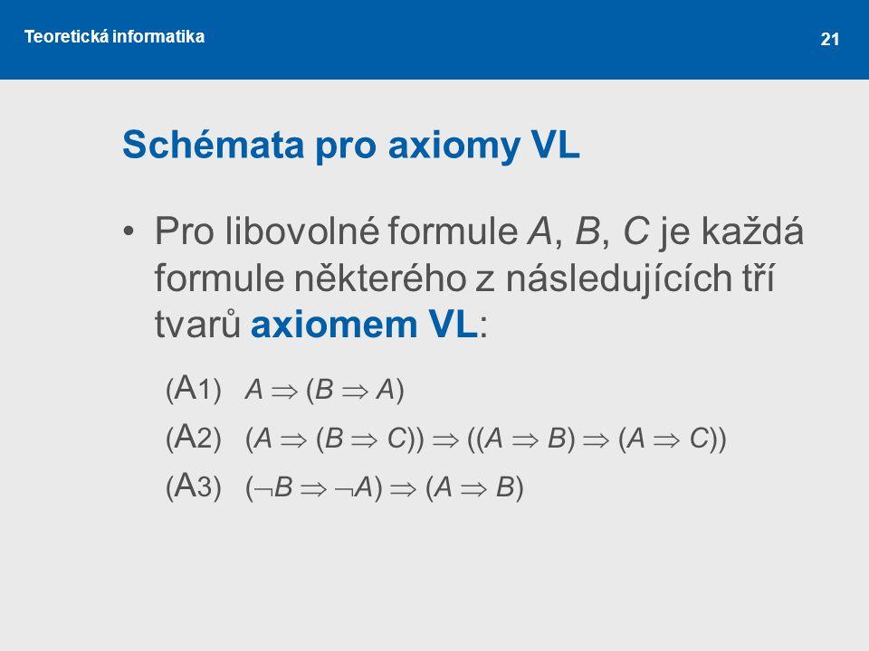 Schémata pro axiomy VL Pro libovolné formule A, B, C je každá formule některého z následujících tří tvarů axiomem VL: