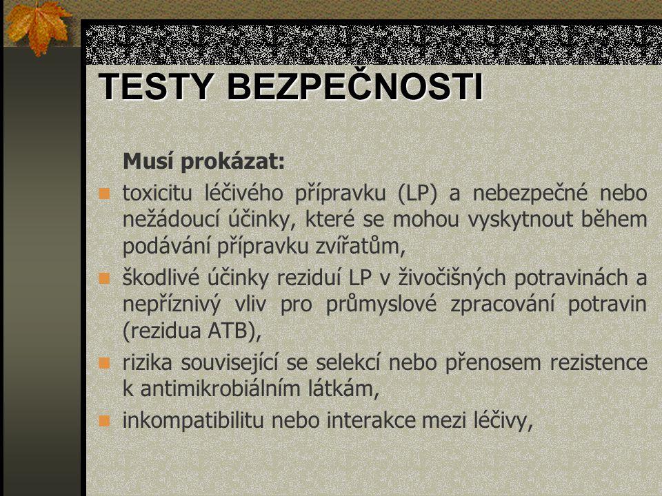 TESTY BEZPEČNOSTI Musí prokázat: