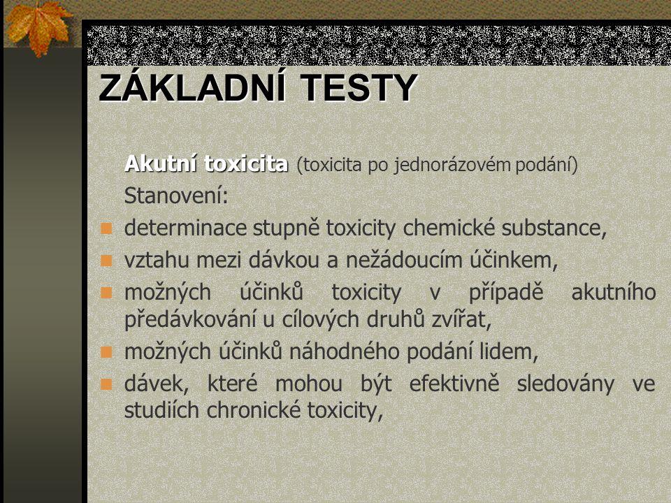 ZÁKLADNÍ TESTY Akutní toxicita (toxicita po jednorázovém podání)