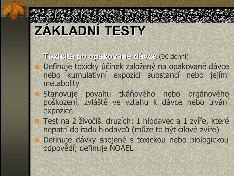 ZÁKLADNÍ TESTY Toxicita po opakované dávce (90 denní)