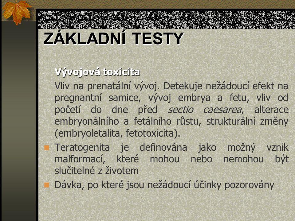 ZÁKLADNÍ TESTY Vývojová toxicita
