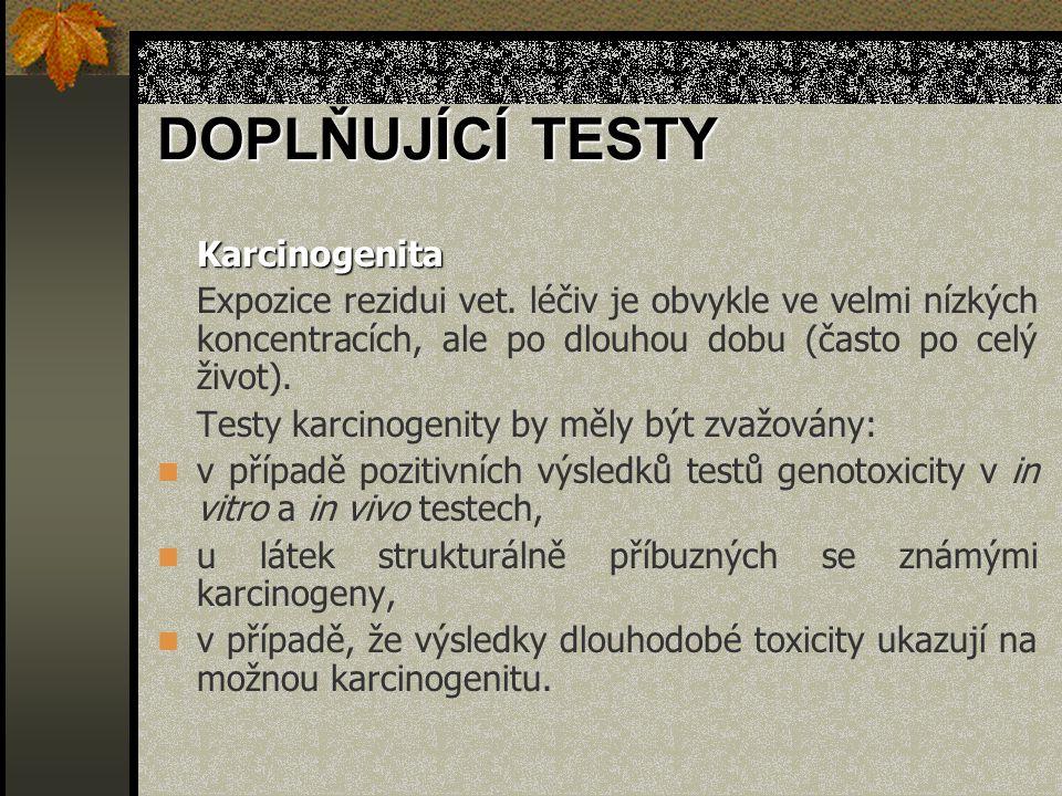 DOPLŇUJÍCÍ TESTY Karcinogenita