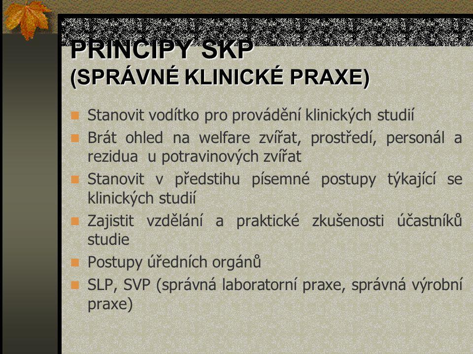 PRINCIPY SKP (SPRÁVNÉ KLINICKÉ PRAXE)