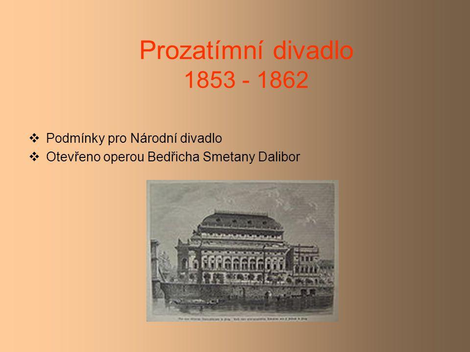 Prozatímní divadlo 1853 - 1862 Podmínky pro Národní divadlo