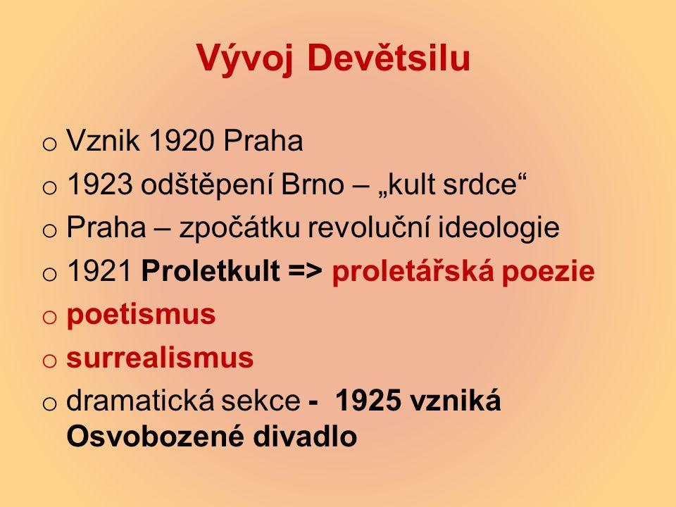 """Vývoj Devětsilu Vznik 1920 Praha 1923 odštěpení Brno – """"kult srdce"""