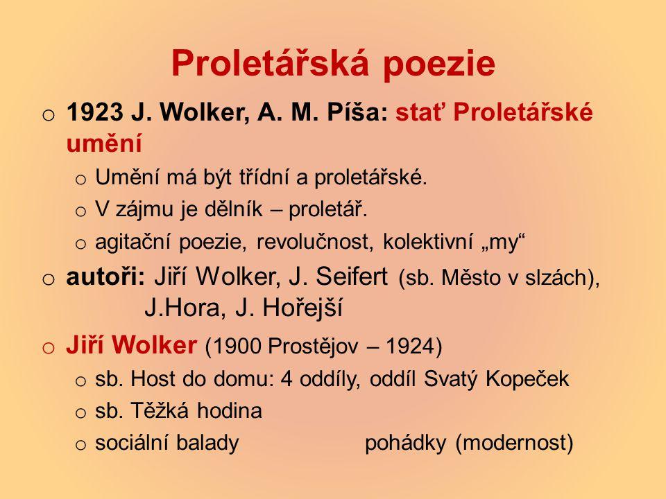 Proletářská poezie 1923 J. Wolker, A. M. Píša: stať Proletářské umění