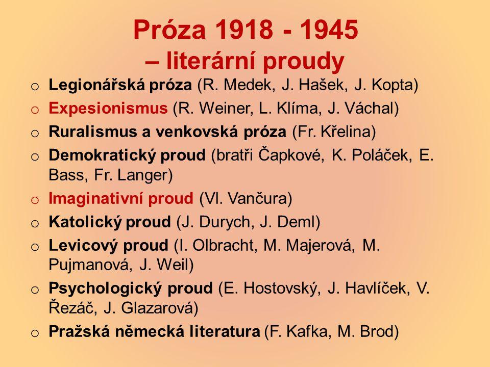 Próza 1918 - 1945 – literární proudy