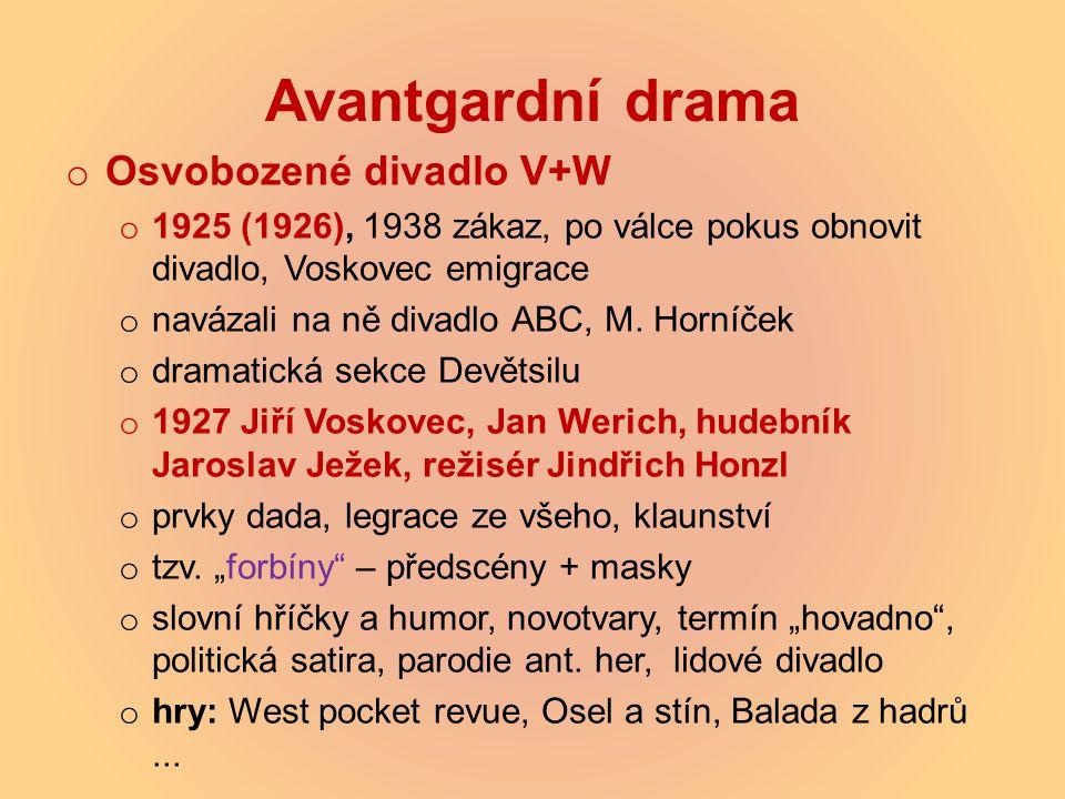 Avantgardní drama Osvobozené divadlo V+W