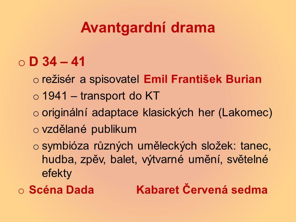 Avantgardní drama D 34 – 41 režisér a spisovatel Emil František Burian