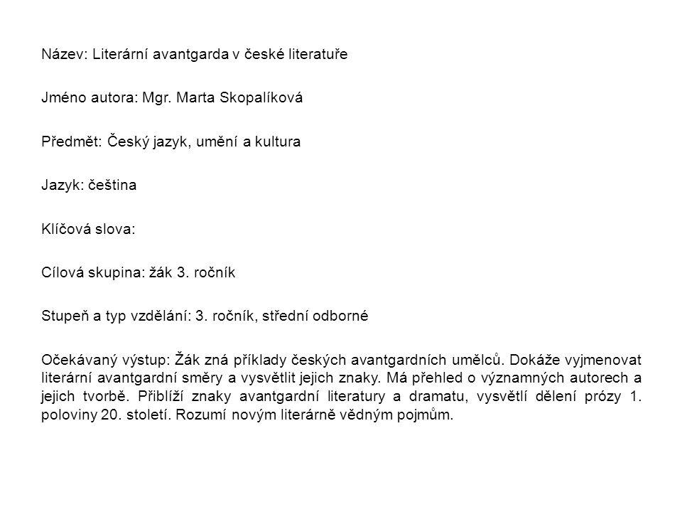Název: Literární avantgarda v české literatuře Jméno autora: Mgr