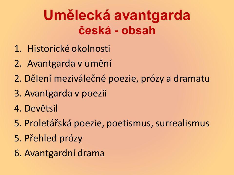 Umělecká avantgarda česká - obsah