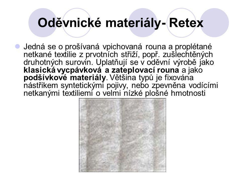 Oděvnické materiály- Retex