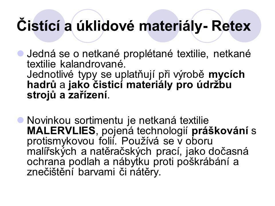 Čistící a úklidové materiály- Retex