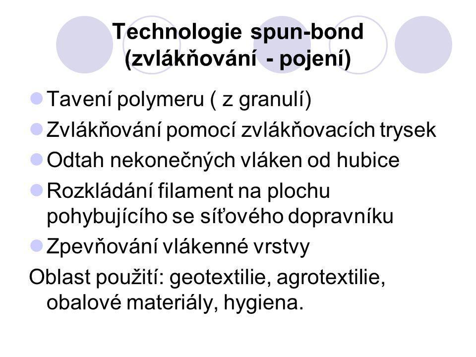 Technologie spun-bond (zvlákňování - pojení)