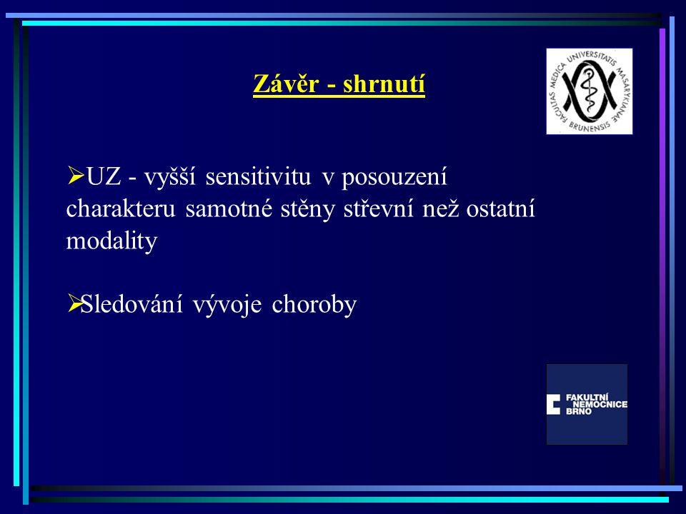 Závěr - shrnutí UZ - vyšší sensitivitu v posouzení charakteru samotné stěny střevní než ostatní modality.