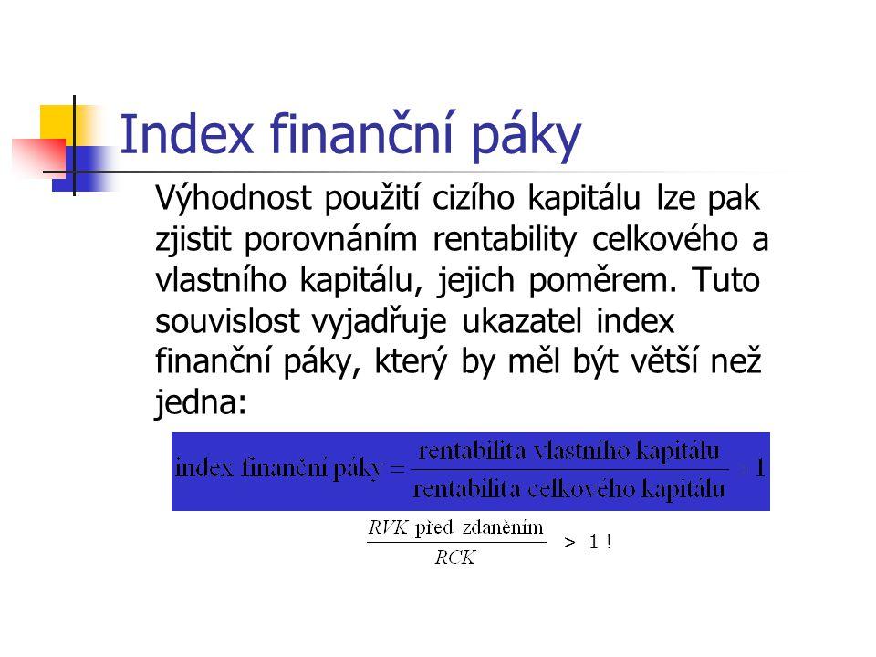 Index finanční páky Výhodnost použití cizího kapitálu lze pak
