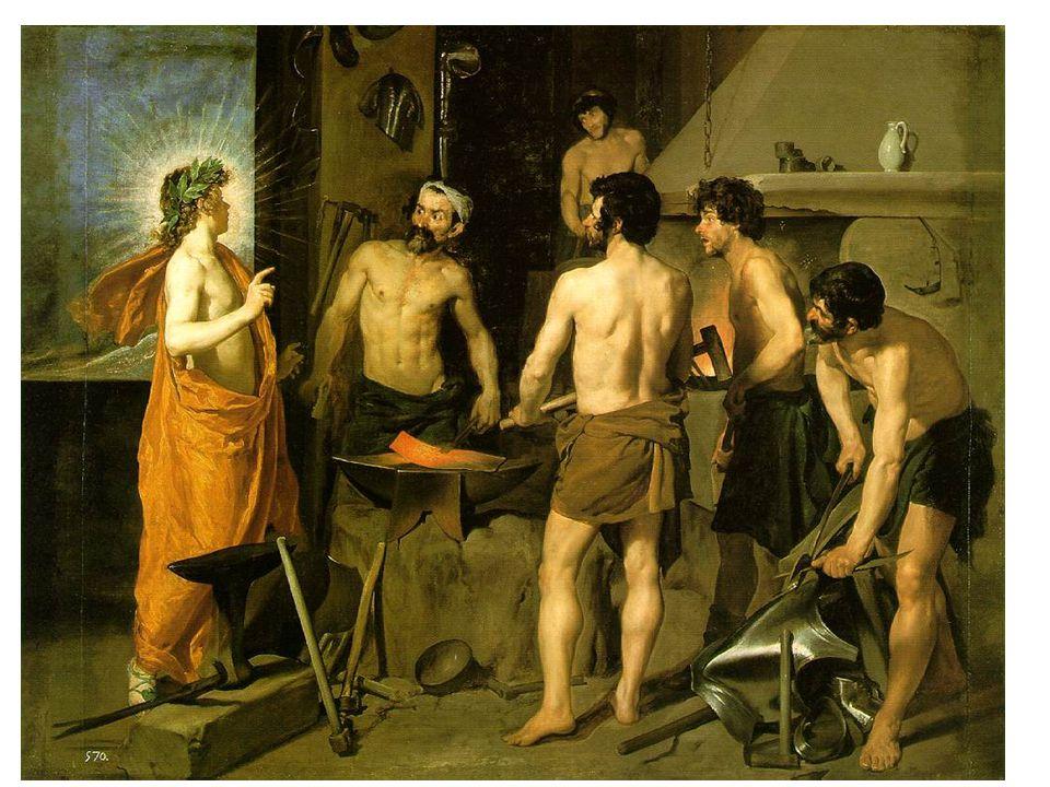 Vulkánova kovárna (1630); během pobytu v Itálii; mytologický námět, Apollón sděluje Vulkánovi, že ho jeho žena podvádí s Martem; 4 postavy kolem kovadliny; světlo a modelace postav