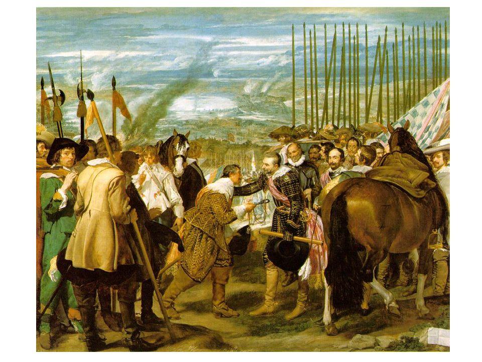 Kapitulace Bredy (1634-1635); město, které španělé obléhali 9 měsíců; místodržící Bredy generálu Spinellimu; Španělsko a Nizozemí
