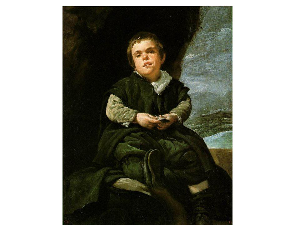 Trpaslík Francesco Lezcano; trpaslíci byli oblíbenou atrakcí významných šlechtických domů; Lezcano sedící na skále s balíčkem karet v ruce; efekt: tvář prosvětlena bílou barvou šátku