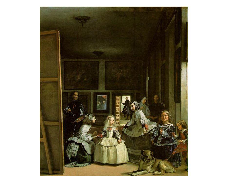 Las Meninas: Dvorní dámy; 1656; zachytil sám sebe se štětcem a paletou, v centru kompozice infantka Markéta; v zrcadle na stěně její rodiče Filip IV a Marie Anna; mezi dvorními dámami je také trpaslice