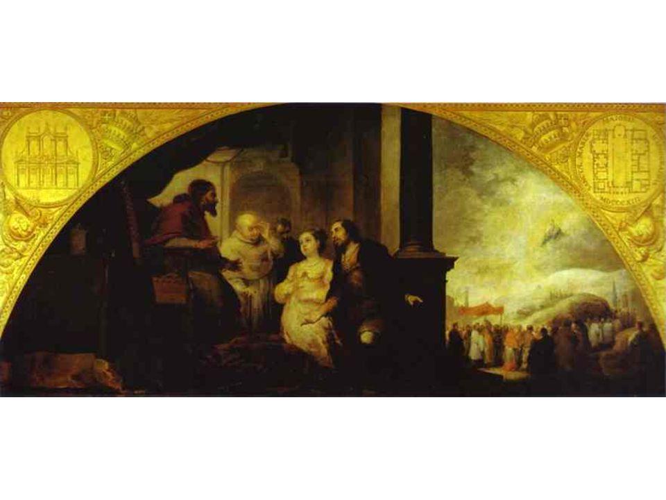 Patricijův sen Druhý obraz: Patricij Jan a jeho manželka se vydávajík papeži, aby mu svůj sen sdělili.