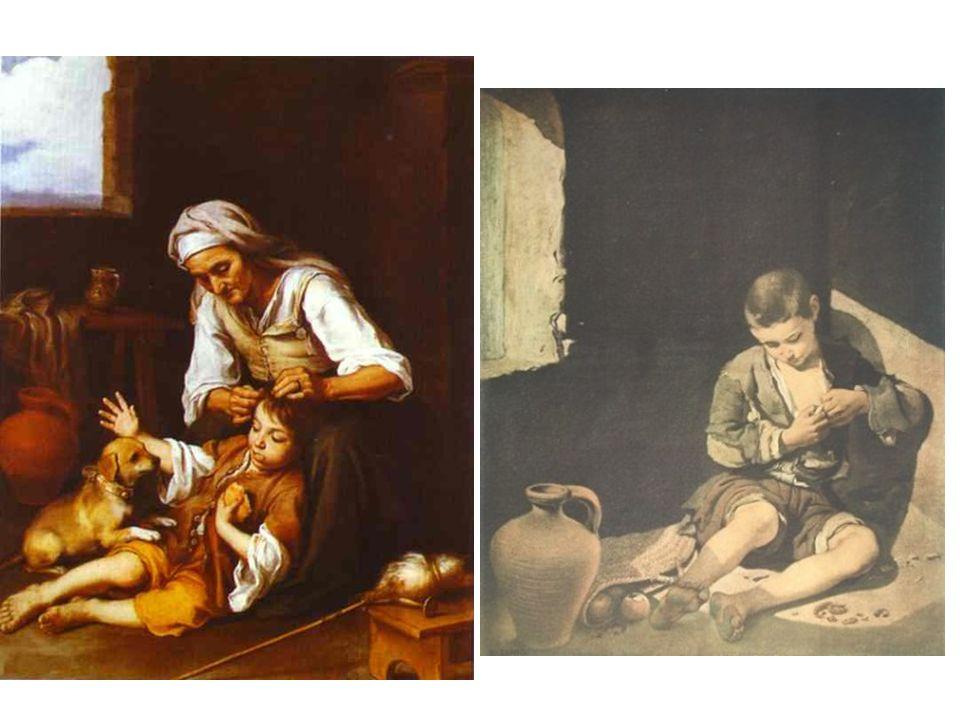 Hygiena aneb Stařena vybírá chlapci vši; Pouliční žebrák (cíl: ne vyvolat lítost, nýbrž milosrdenství.)
