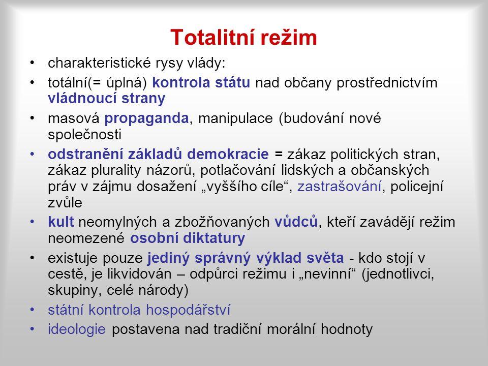 Totalitní režim charakteristické rysy vlády:
