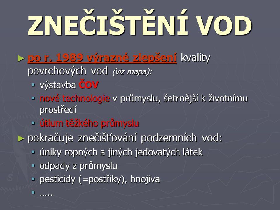 ZNEČIŠTĚNÍ VOD po r. 1989 výrazné zlepšení kvality povrchových vod (viz mapa): výstavba ČOV.