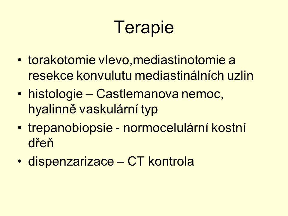Terapie torakotomie vlevo,mediastinotomie a resekce konvulutu mediastinálních uzlin. histologie – Castlemanova nemoc, hyalinně vaskulární typ.