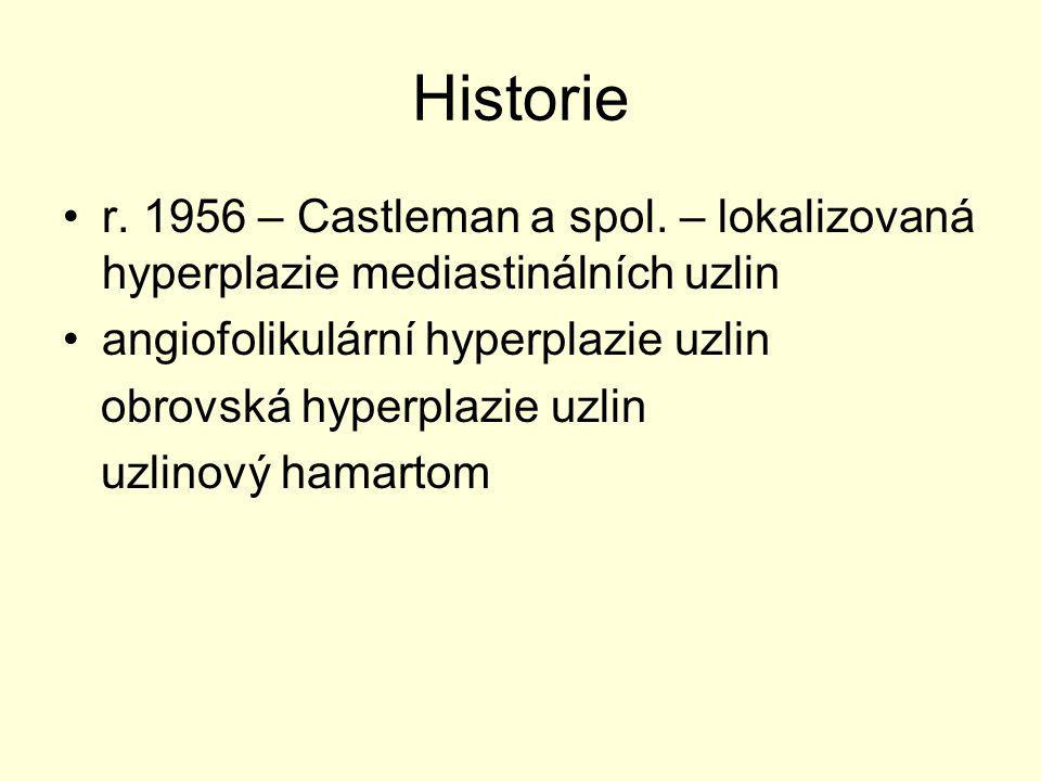 Historie r. 1956 – Castleman a spol. – lokalizovaná hyperplazie mediastinálních uzlin. angiofolikulární hyperplazie uzlin.