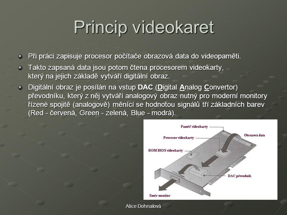 Princip videokaret Při práci zapisuje procesor počítače obrazová data do videopaměti.