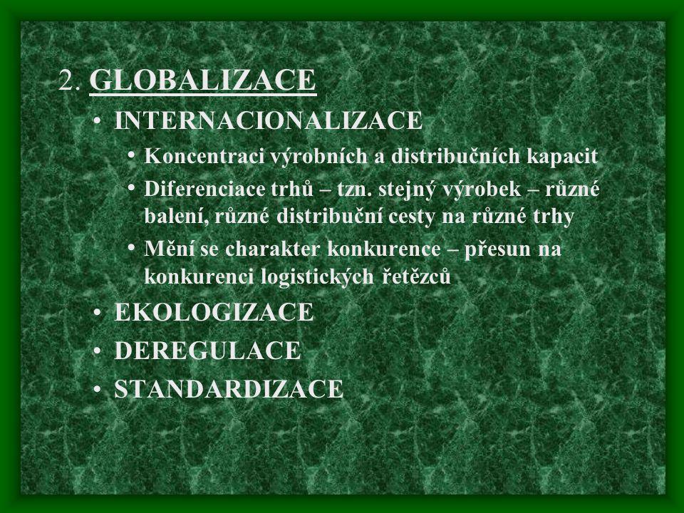 2. GLOBALIZACE INTERNACIONALIZACE EKOLOGIZACE DEREGULACE STANDARDIZACE