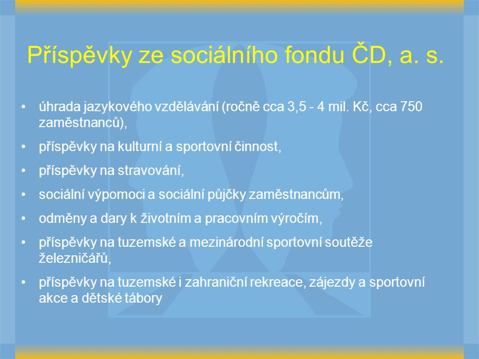 Příspěvky ze sociálního fondu ČD, a. s.