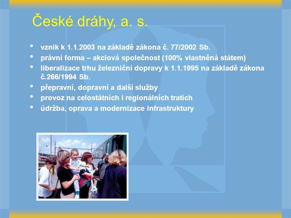 České dráhy, a. s. vznik k 1.1.2003 na základě zákona č. 77/2002 Sb.