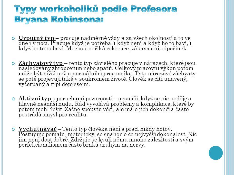 Typy workoholiků podle Profesora Bryana Robinsona: