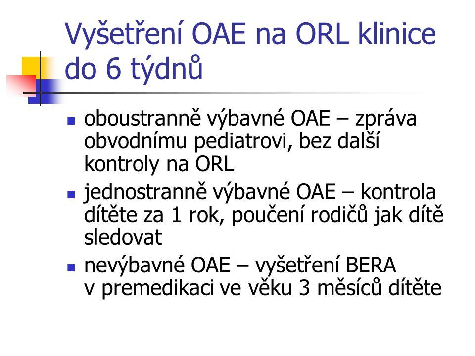 Vyšetření OAE na ORL klinice do 6 týdnů