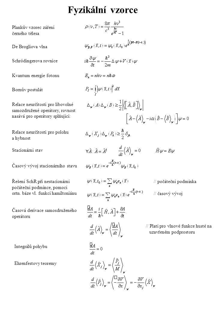 Fyzikální vzorce Plankův vzorec záření černého tělesa